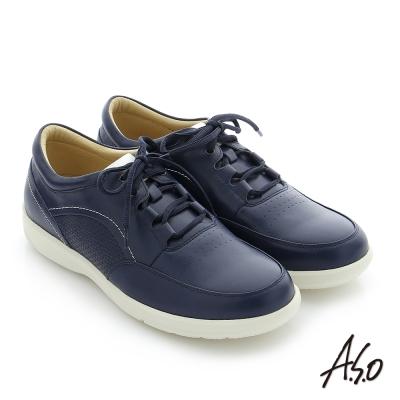 A.S.O 3D超動能 真皮寬楦奈米休閒鞋 藍色