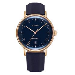 a.b.art G系列 復古日期大三針機械腕錶-藍x玫瑰金/40.5mm