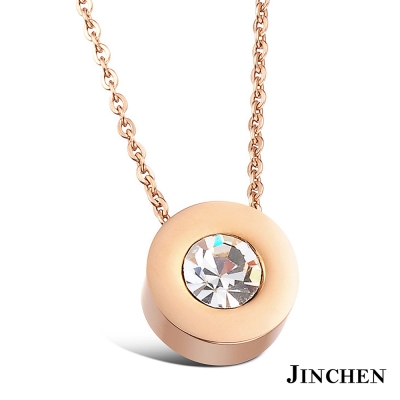 JINCHEN 白鋼單鑽項鍊-玫瑰金