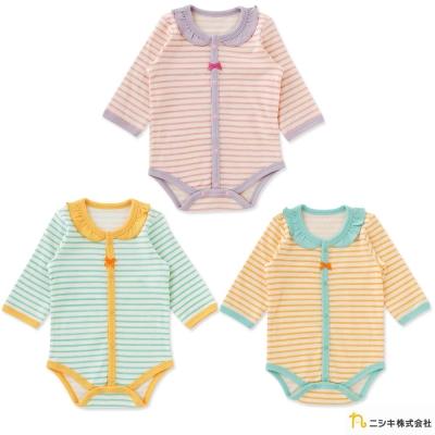 Nishiki 日本株式會社 條紋撞色滾邊長袖包屁衣連身衣