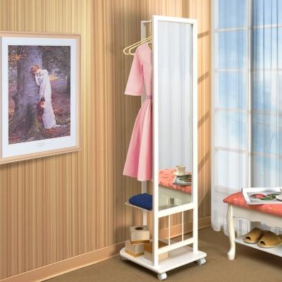 Asllie安柏多功能穿衣鏡吊衣架(白色)/活動全身鏡-40x48x163cm