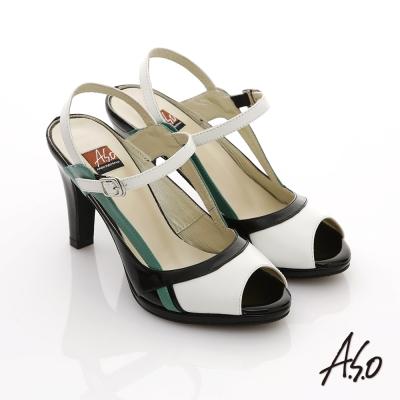 A.S.O 俐落職場 全真皮三色拼接高跟涼鞋 黑