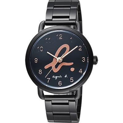agnes b. 巴黎城市限定腕錶(BG8040X1)-黑x玫塊金字/40mm