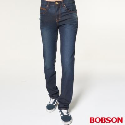 BOBSON 男款低腰雙袋配皮料深藍直筒褲