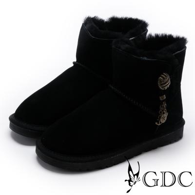 GDC-溫暖毛滾邊銅釦飾牛皮雪靴-黑色