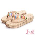 JMS-超舒適彩色編織帶夾腳海灘鞋(低跟款)-杏色