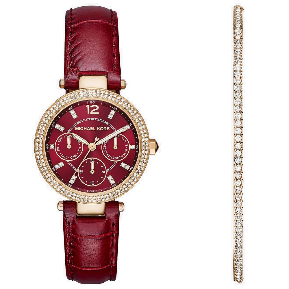 MICHAEL KORS 古典晶鑽真皮手錶手鍊禮盒組-玫瑰金X酒紅/39mm