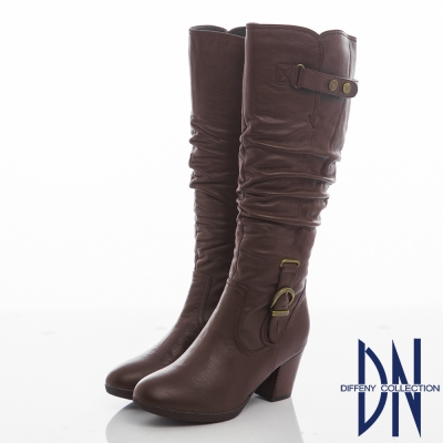 DN 都會氣質 牛皮抓皺顯瘦粗跟長靴-咖