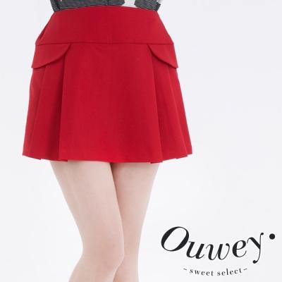 OUWEY歐薇-壓褶造型褲裙
