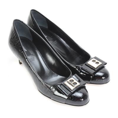 BALLY 亮面皮革B字壓紋高跟鞋-黑色