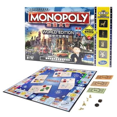 孩之寶Hasbro 桌遊大富翁 MONOPOLY 地產大亨 新世代世界版 (8Y+)
