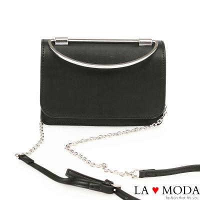 La Moda 約會晚宴必備~質感女孩特殊弧形手把設計肩背斜背手拿鏈帶包(黑)