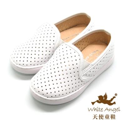 天使童鞋-D426B 中性百搭洞洞親子鞋(中-大童)-白