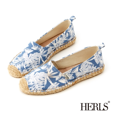 HERLS-愜意午後帆布麻編鞋-熱帶植物