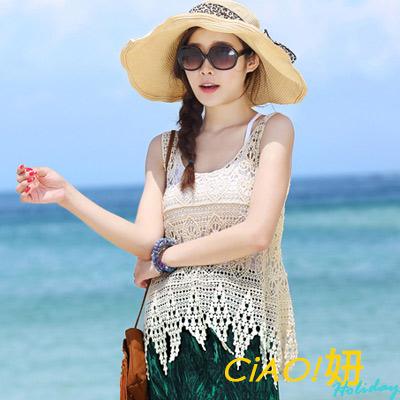 蕾絲花型鋸尺擺縷空罩衫背心 (米白色)-CIAO妞 Holiday