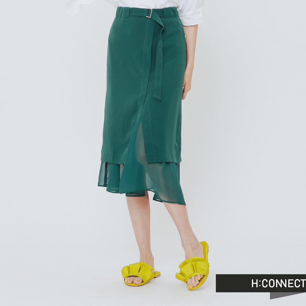 H:CONNECT 韓國品牌 女裝 - 前開岔層次感中長裙-綠