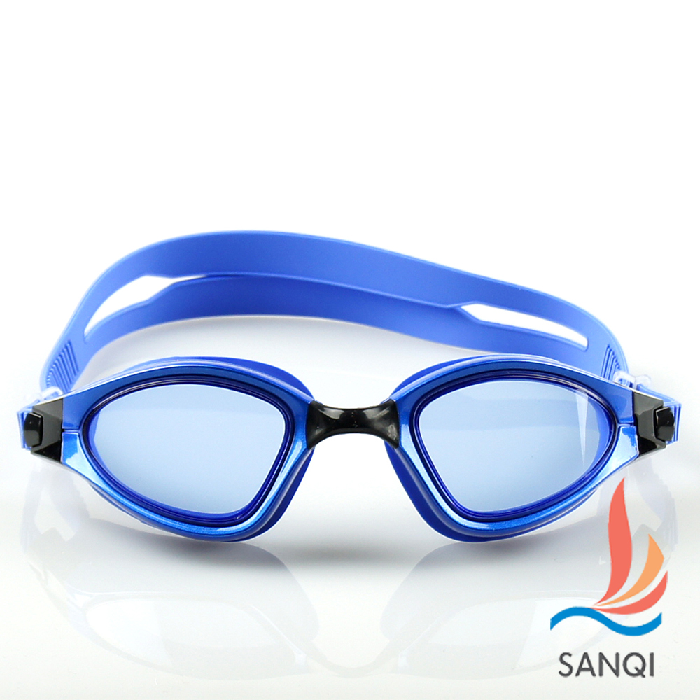 SANQI三奇 夏日必備抗UV防霧休閒泳鏡(9015-藍F)