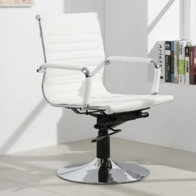 LOGIS邏爵-安菲米皮革低背吧椅 梳妝椅 辦公椅 事務椅-白色