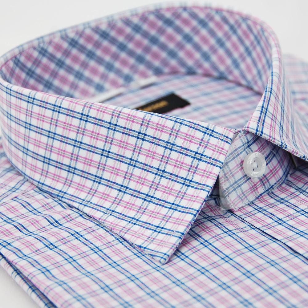 【金安德森】粉色格紋窄版短袖襯衫
