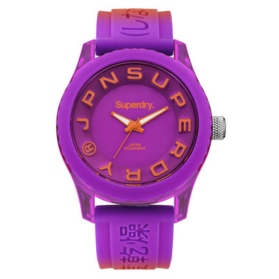 Superdry 極度乾燥 急速衝刺 矽膠 運動腕錶-紫x橘帶/紫面/38mm