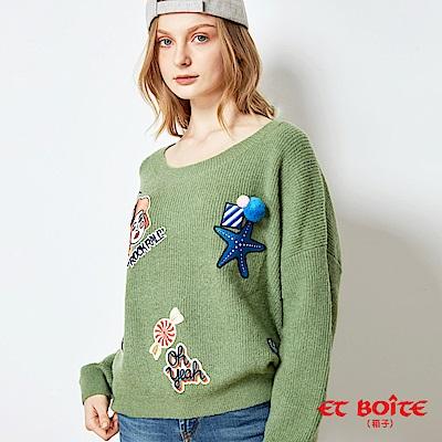 ETBOITE 箱子 BLUE WAY 嬉皮街頭風趣味貼標針織毛衣-綠
