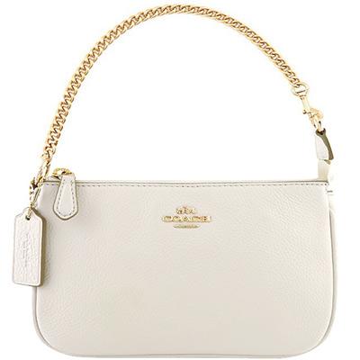 COACH-白色馬車皮革壓紋鍊帶手提包