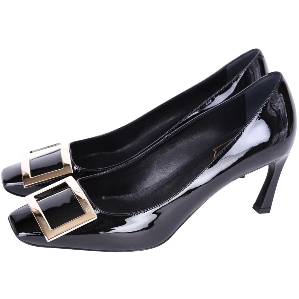 Roger Vivier Trompette經典方框漆皮高跟鞋黑色