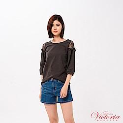 Victoria 袖蕾絲剪接拋袖七分袖T-女-深灰