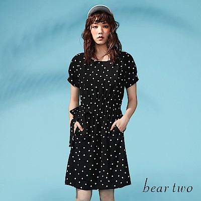 beartwo 網路限定-精彩圓點點綁帶造型洋裝(黑色)