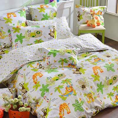 義大利Fancy Belle 動物狂想曲 雙人四件式防蹣抗菌舖棉兩用被床包組