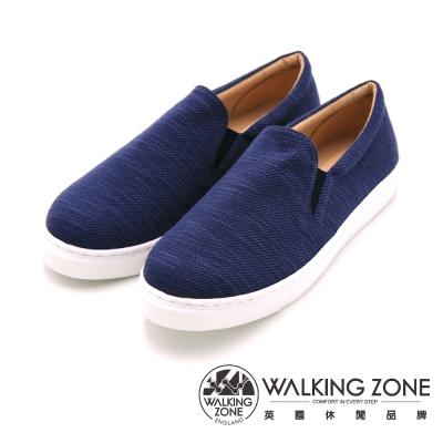 WALKING ZONE Classic潮流素色休閒懶人 女鞋-丈青藍(另有粉)
