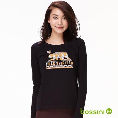 bossini女裝-印花長袖T恤14黑