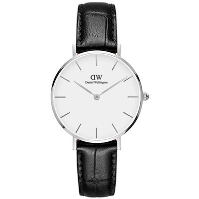 DW Daniel Wellington 經典雷丁黑色壓紋皮帶腕錶-銀框/32mm