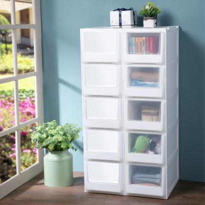 創意達人白色積木系統式5層隙縫收納櫃72.5L