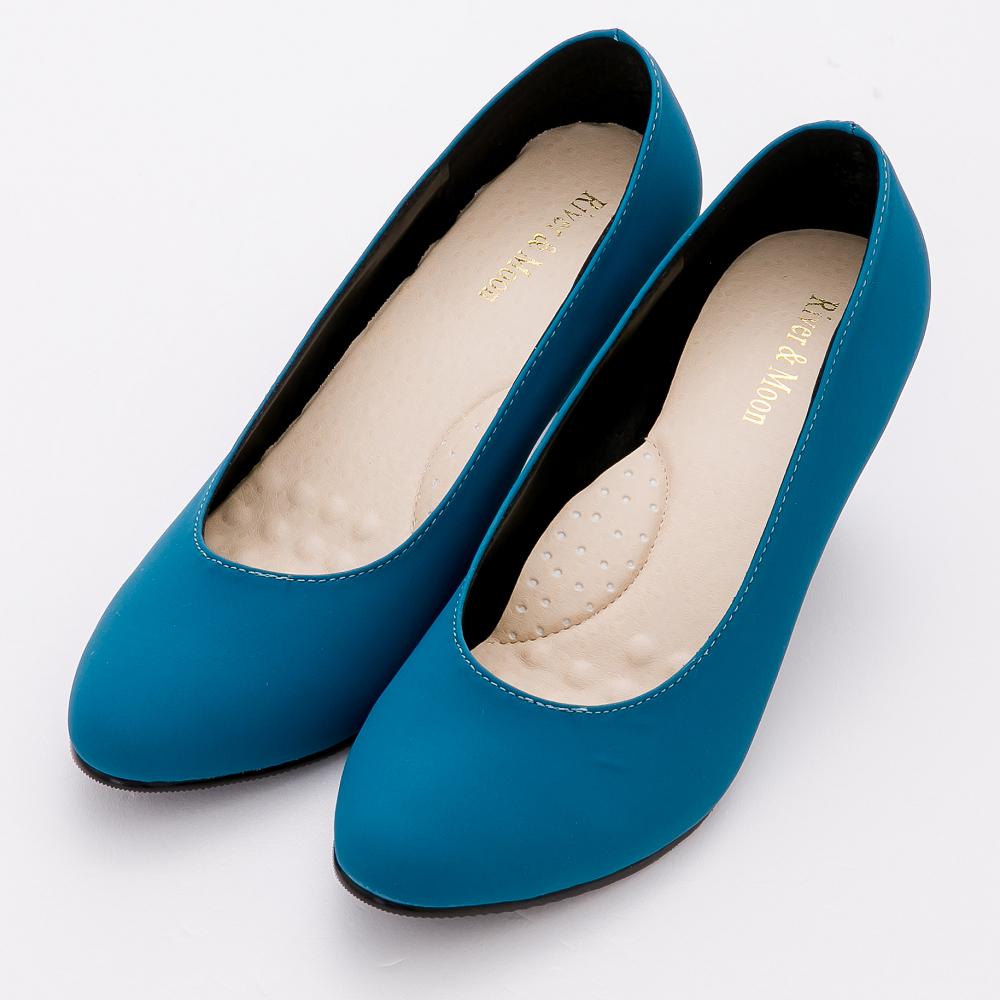 River&Moon跟鞋-超穩百搭通勤彈力靜音高跟鞋-寶藍