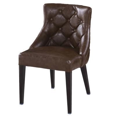 AT HOME-霍華咖啡皮低背餐椅