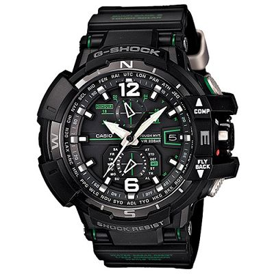 G-SHOCK 駕駛旗鑑款電波飛行概念錶(GW-A1100-1A3)-IP黑x綠圈/53.8mm