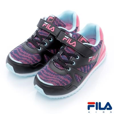 FILA KIDS中童EVA經典慢跑鞋-黑粉2-J430R-055