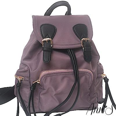 Ann'S休閒輕便版-素面防水尼龍束口後背包-煙燻紫