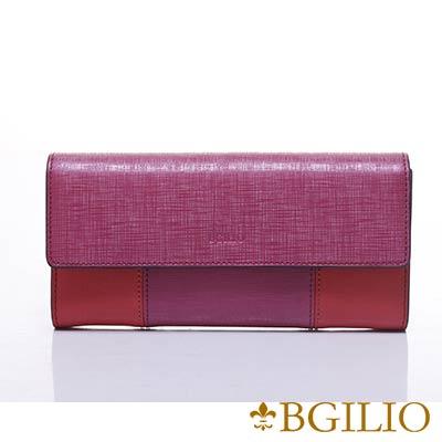 義大利BGilio-十字紋牛皮(深淺雙色)扣式長夾-桃紅色1946.324-14