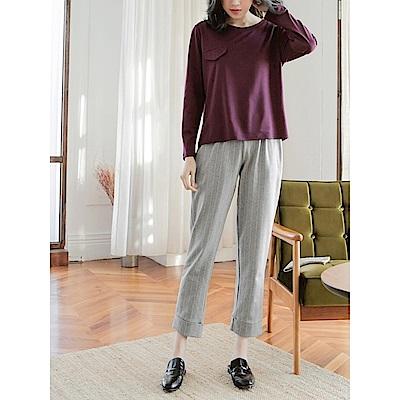 高含棉針織布直紋褲管反褶老爺褲-OB大尺碼