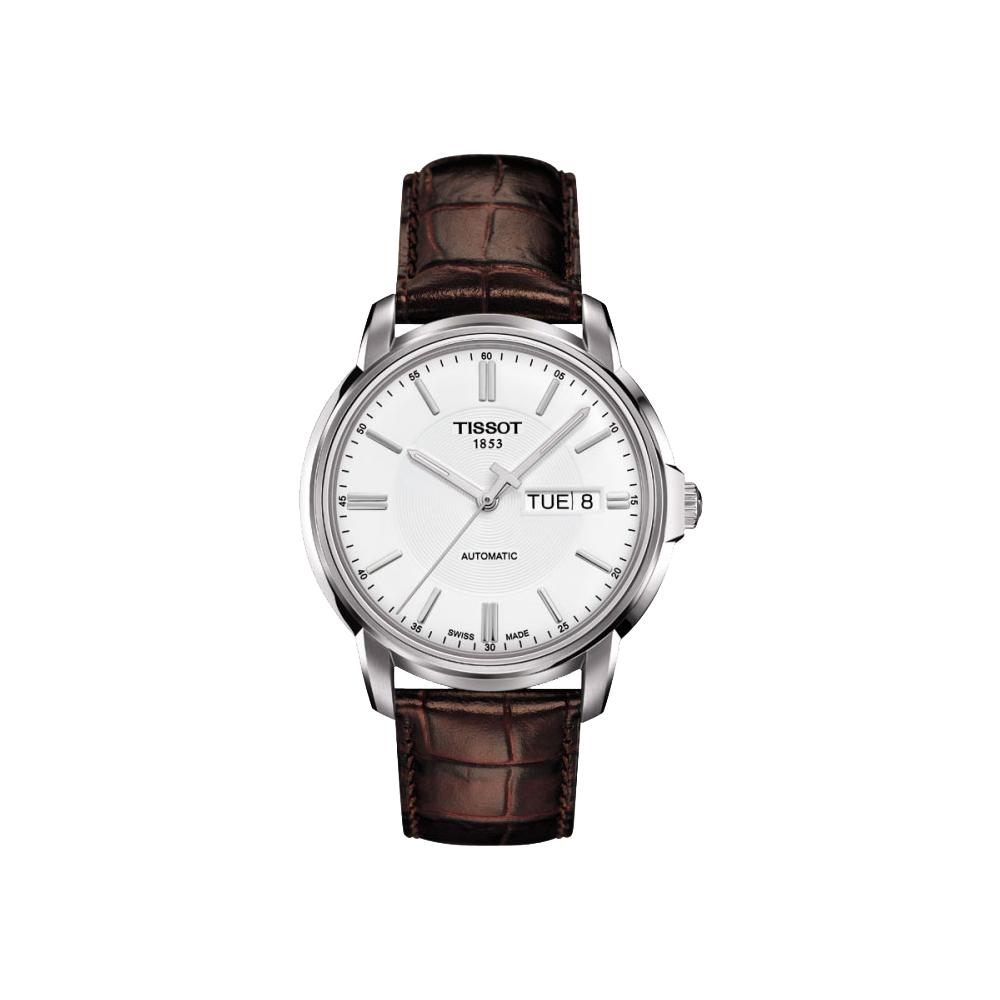 TISSOT Automatics III 時尚機械腕錶-白x皮帶版/40mm