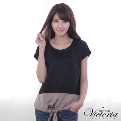 Victoria 下擺異材質撞色寬鬆短袖T-女-黑色