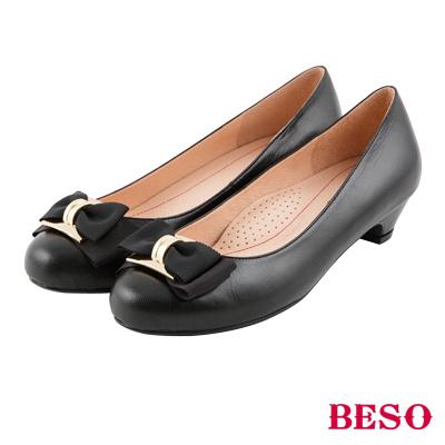 BESO 浪漫甜心 雙層蝴蝶結全真皮舒壓跟鞋~黑
