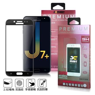 XM Samsung Galaxy J7+ 超透滿版 2.5D 鋼化玻璃貼-黑色