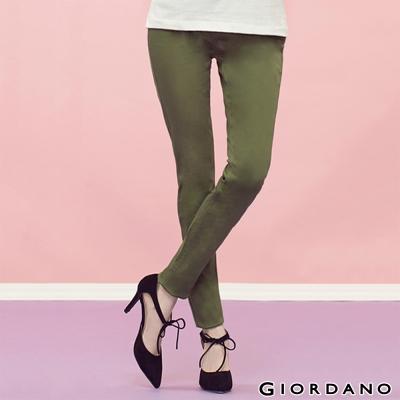 GIORDANO-女裝中腰輕磨毛修身窄腳褲-21柏樹綠