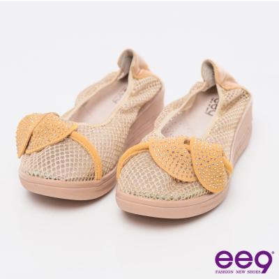 ee9芯滿益足~~酷勁個性異材質交錯併接厚底休閒便鞋~黃色