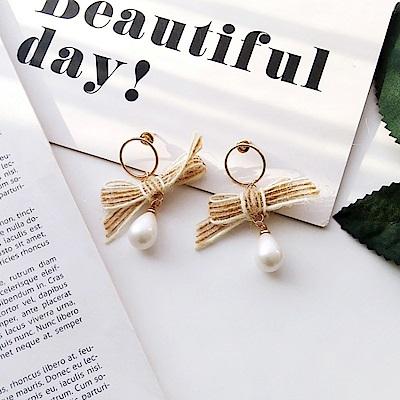 梨花HaNA 無耳洞自然風格蝴蝶結麻緞帶珍珠耳環夾式