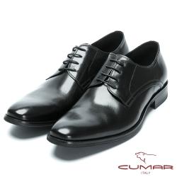 CUMAR歐風品味 時尚綁帶牛皮皮鞋-黑色