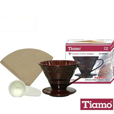 Tiamo V02 1-4陶瓷濾杯附濾紙40(咖啡色)HG5032